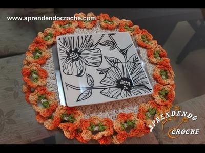 Sousplat de Crochê Floral - Aprendendo Croche
