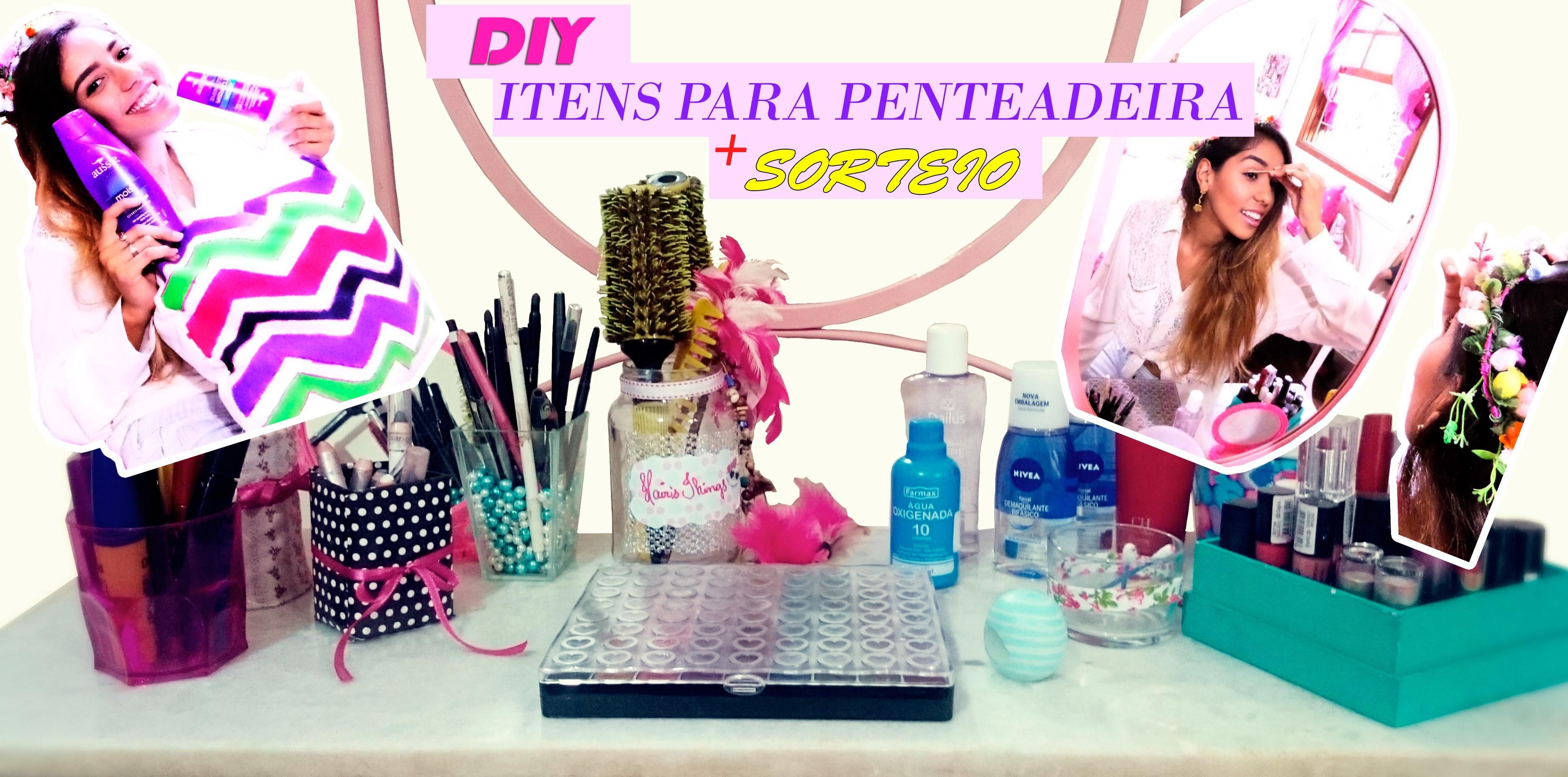 DIY-Dicas+itens p. organizar a penteadeira e agilizar a make+SORTEIOS|Spring Room Decor|LetíciaDIY