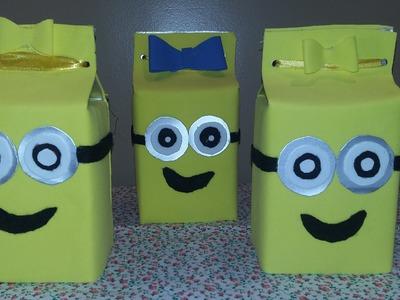 D.I.Y -  Caixa Lembrancinha para Festa de Aniversário dos Minions reciclagem com caixa de leite