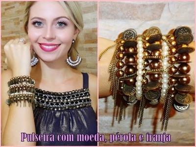 ♡Pulseira com moeda, pérola e franja correntes♡ -  Querido Blonde