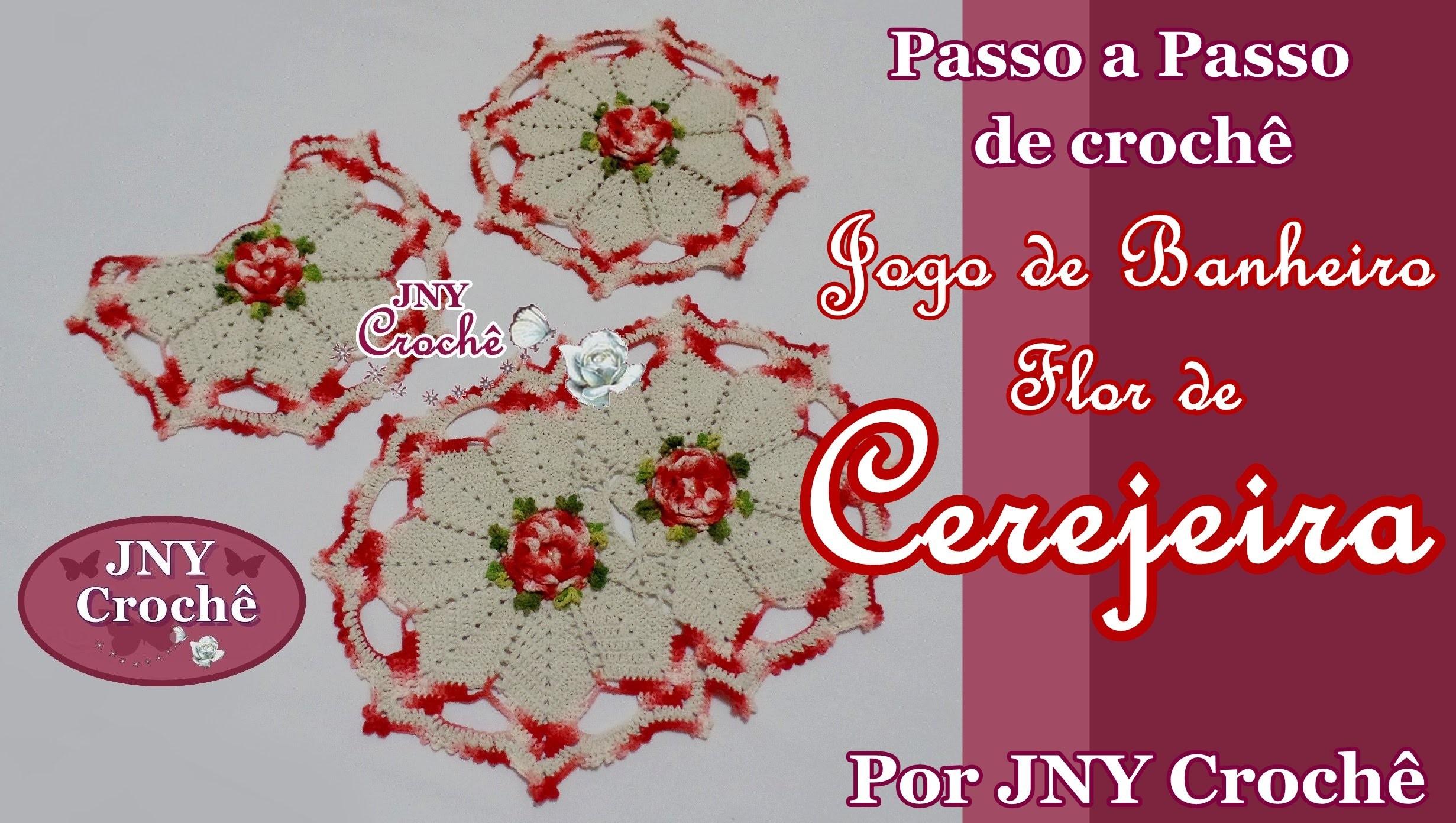 PAP Tapete do vaso Jogo de Banheiro Flor de Cerejeira por JNY Crochê