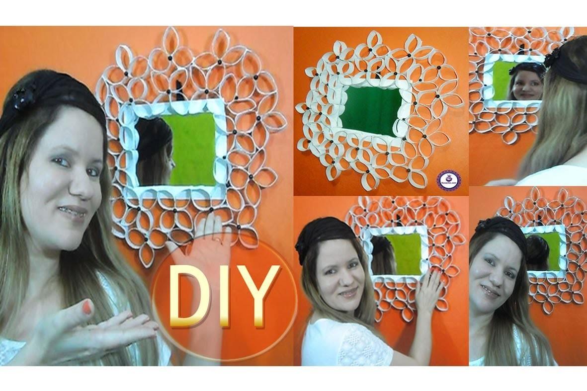 ✂ DIY | Faça Moldura  de Espelho Decorada com Rolos de Papel Higiênico
