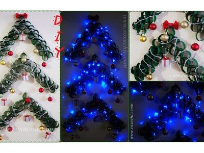 ✂DIY | Árvore de Natal Decorada | Feita com Rolos de Papel Higiênico + Montagem e Pisca-Pisca de Led