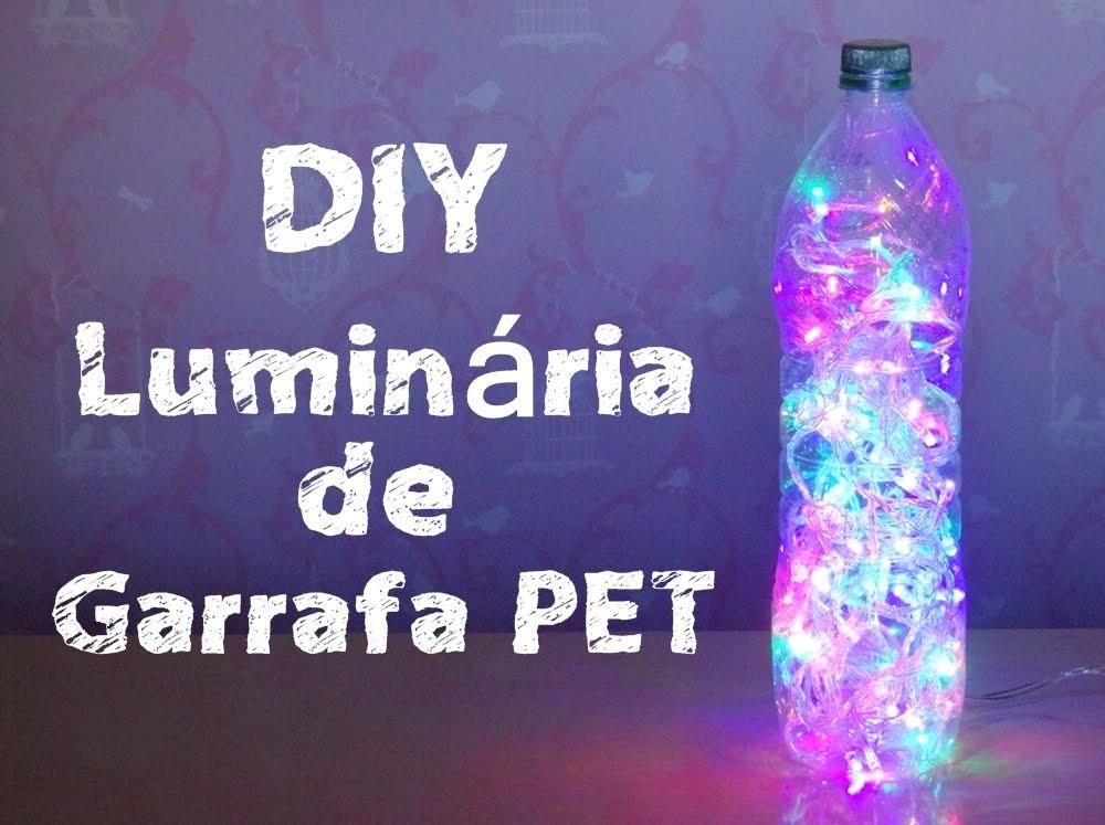 DIY - Luminária de garrafa PET e luzes de LED.