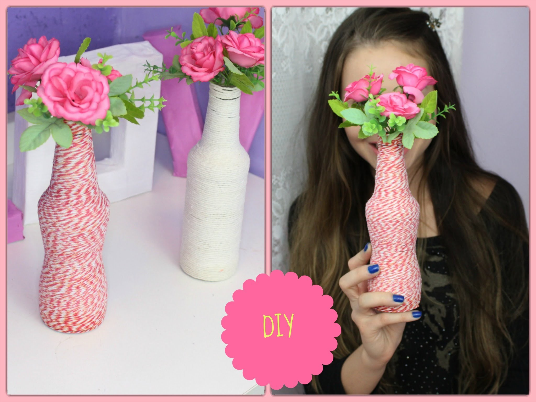 DIY- Garrafas decoradas com Barbante