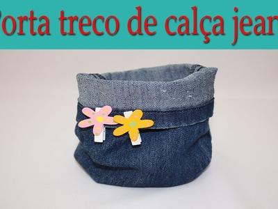 DIY Upcycled Denim Bucket   -  Porta treco de Jeans - Reciclado - Fácil de fazer