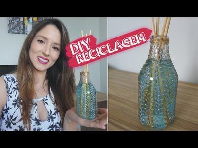 DIY garrafa para aromatizador #2 | Garrafa decorada | Reciclagem de garrafa de vidro | Lilian Luz