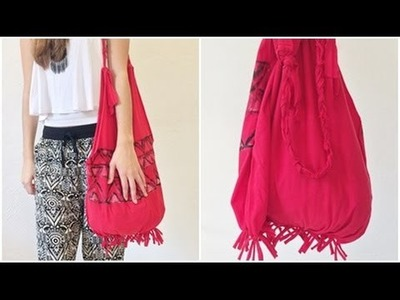DIY: Bolsa com camiseta (Sem costurar) | T-shirt Bag