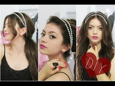 DIY tiara de pérolas + 3 opções de penteados + cabelo ondulado sem danificação