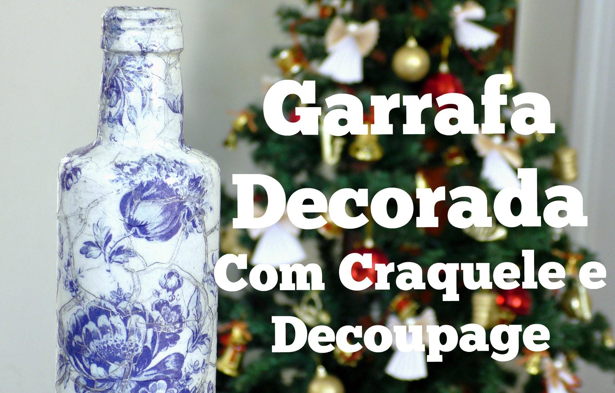 Garrafa de vidro decorada com Decoupage e Craquele Incolor - DIY : Compartilhando Arte