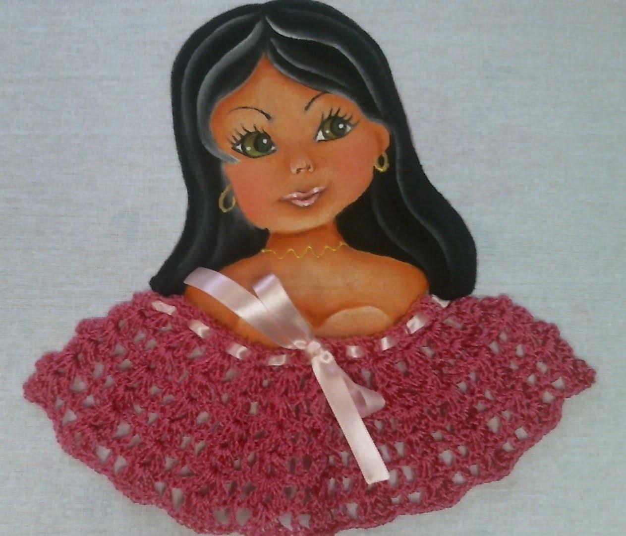 Como fazer boneca com blusa de croche pintura em tecido How to paint a dolls