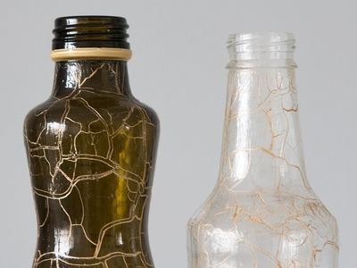 Como Fazer Artesanato com Garrafas de Vidro Craqueladas Reciclagem e Customização