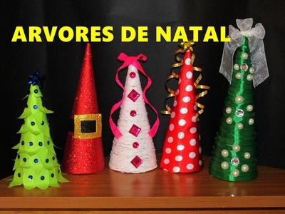 DIY 5 MINI ÁRVORES DE NATAL LEMBRANCINHAS E ENFEITES DE NATAL