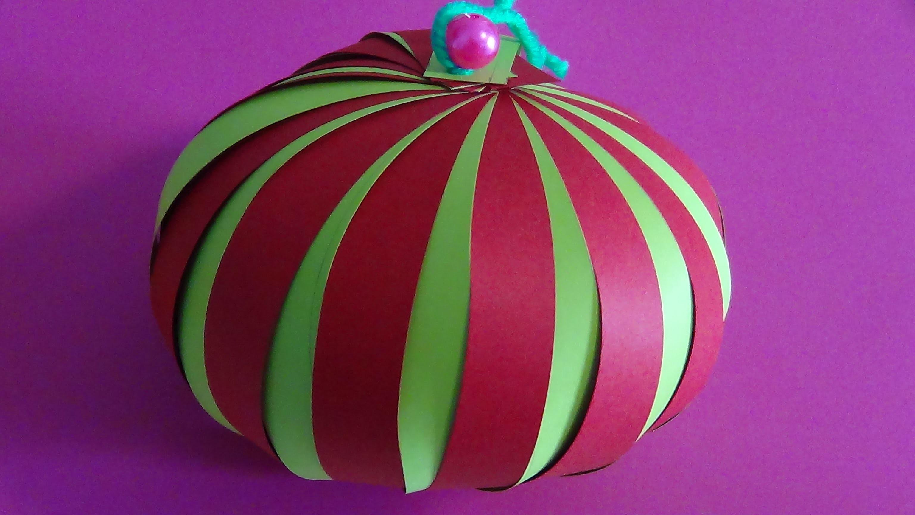 DIY Saiba como fazer uma bola de natal  feito em papel  # 17