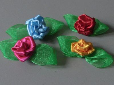 D.I.Y. Como fazer pequenas Flor com folhas para gigoletes fivelas broches. Passo a Passo