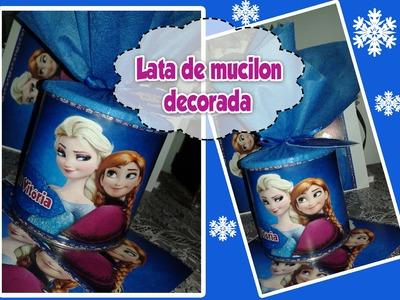 DIY:Como decorar lata de mucilon para lembrancinha de festa de aniversário,Frozen