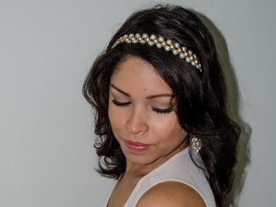 DIY: Tiara de Pérolas Brancas e Douradas
