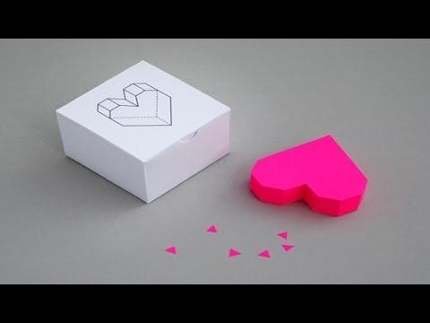 ♥DIY: Caixinha coração 3D (Box Heart Shape 3D)