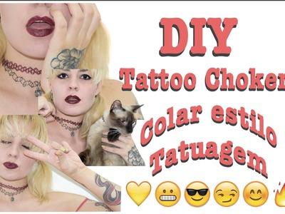 DIY | Como fazer Tattoo Choker (Colar estilo tatuagem) Muito Fácil | Ft. Mau Mau