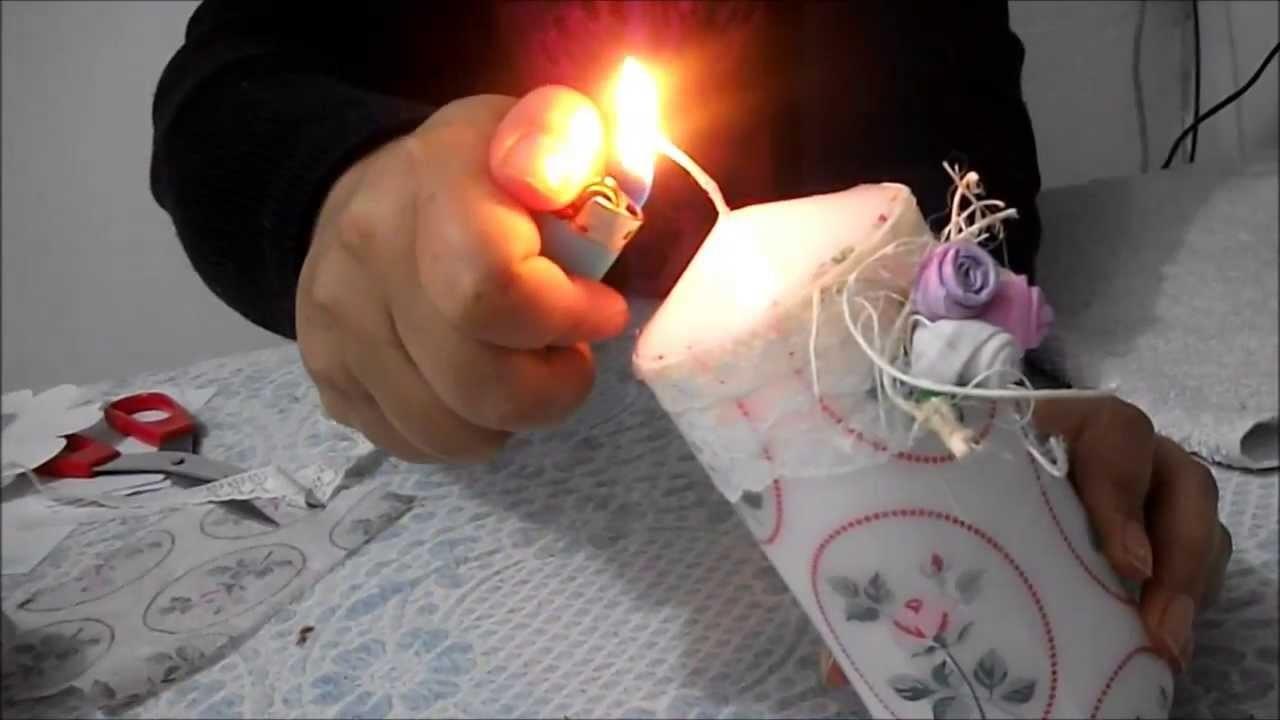 DIY: Faça voce mesma decoupar vela com guardanapos.