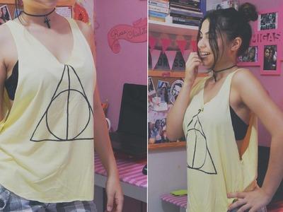 DIY: Camiseta cavada Harry Potter. tank top | Andressa Moraes