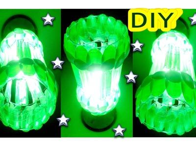 ✂DIY - Como Fazer Luminária Feita de Garrafa Pet e Colheres Descartáveis  (Verde e Branca) #Lustre03