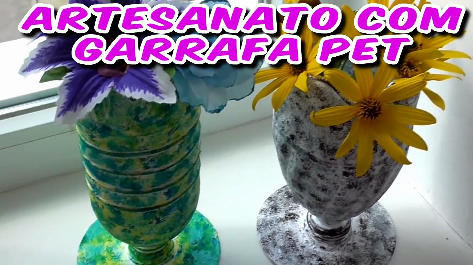 Artesanato com Garrafa Pet - Aprenda a Fazer estes Vasos com Material Reciclado