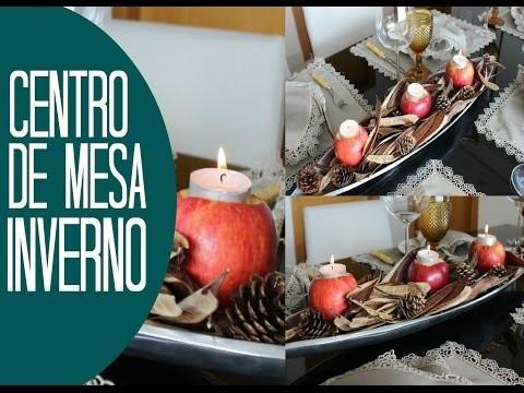 DIY - Centro de mesa de Inverno (usando maças como porta velas)