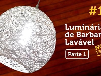 Luminária de Barbante Lavável [PARTE 1]. Twine Lampshade. Lampara de Hilo DIY #14