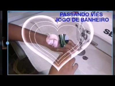 DIY::COSTURANDO E FAZENDO A BORDA DO JOGO DE BANHEIRO. PASSO Á PASSO. SEGUNDA PARTE.