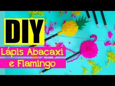 Como fazer pompons + Lápis de Abacaxi e Flamingo #DIY