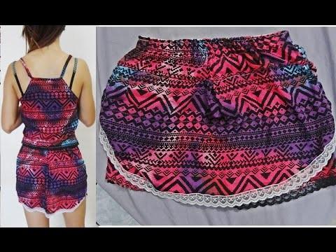 DIY: como fazer conjunto de viscose - short saia e blusa de amarrar - PARTE 2