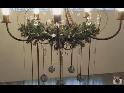 DIY fácil - Como decorei o lustre para o Natal - Guirlanda para o lustre - decoração de Natal