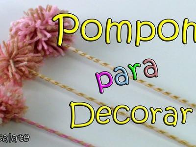 Como fazer Pompom no Palito p. Festas, chá de panela - Artesanato DIY Manualidades