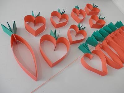 Cenoura e cenoura coração de papel - Passo a passo - Artesanato