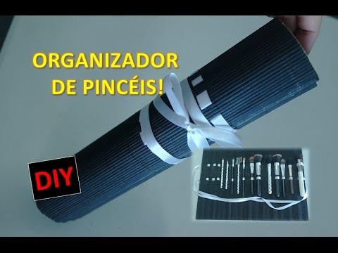 DIY - ORGANIZADOR DE PINCÉIS COM ESTEIRA PARA SUSHI - PASSO A PASSO