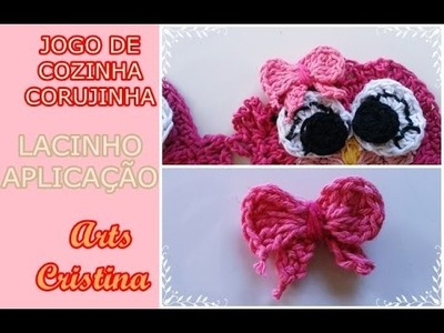 APLIQUE DE LAÇO EM CROCHE. TIE APPLY IN CROCHET. BUCLE APLICABLE EN CROCHE – ARTS CRISTINA