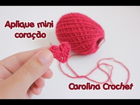 Aplique mini coração de crochet