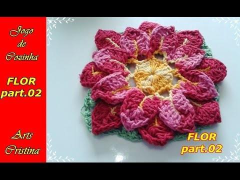 FLOR DE APLICAÇÃO CROCHÊ ´part.02. flower crochet. flor croche– ARTS CRISTINA