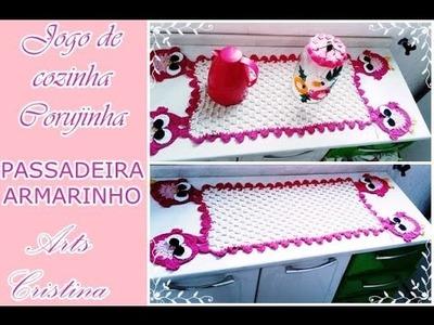 PASSADEIRA ARMARINHO-JOGO DE COZINHA CORUJINHA CROCHE |Pasarela CROCHE|Walkway CROCHET-ARTSCRISTINA