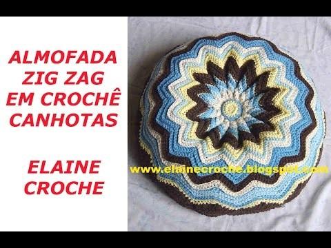 CROCHE PARA CANHOTOS - LEFT HANDED CROCHET - ALMOFADA ZIG ZAG EM CROCHÊ CANHOTAS