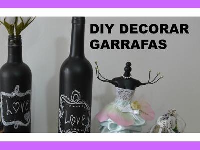DIY: Como decorar garrafa com tinta ardosia e giz de lousa