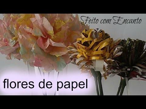 DIY.Flor de Revista e Papel de Seda