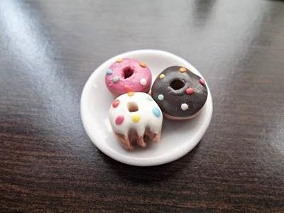 Tutorial: Como fazer miniatura de Donut para Barbie e outras bonecas - DIY biscoito e rosquinha