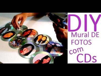 DIY: MURAL, PORTA RETRATOS, PAINEL DE FOTOS. TUDO COM CDs.