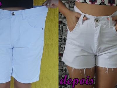 Diy: Transforme bermuda em shorts cintura alta modo profissional #Parte 2 - Customizei meu closet
