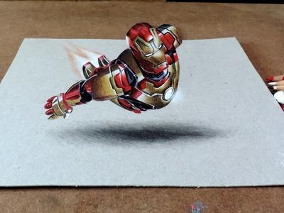 Drawing Iron Man 3D | Desenhando Homem de Ferro com efeito3D