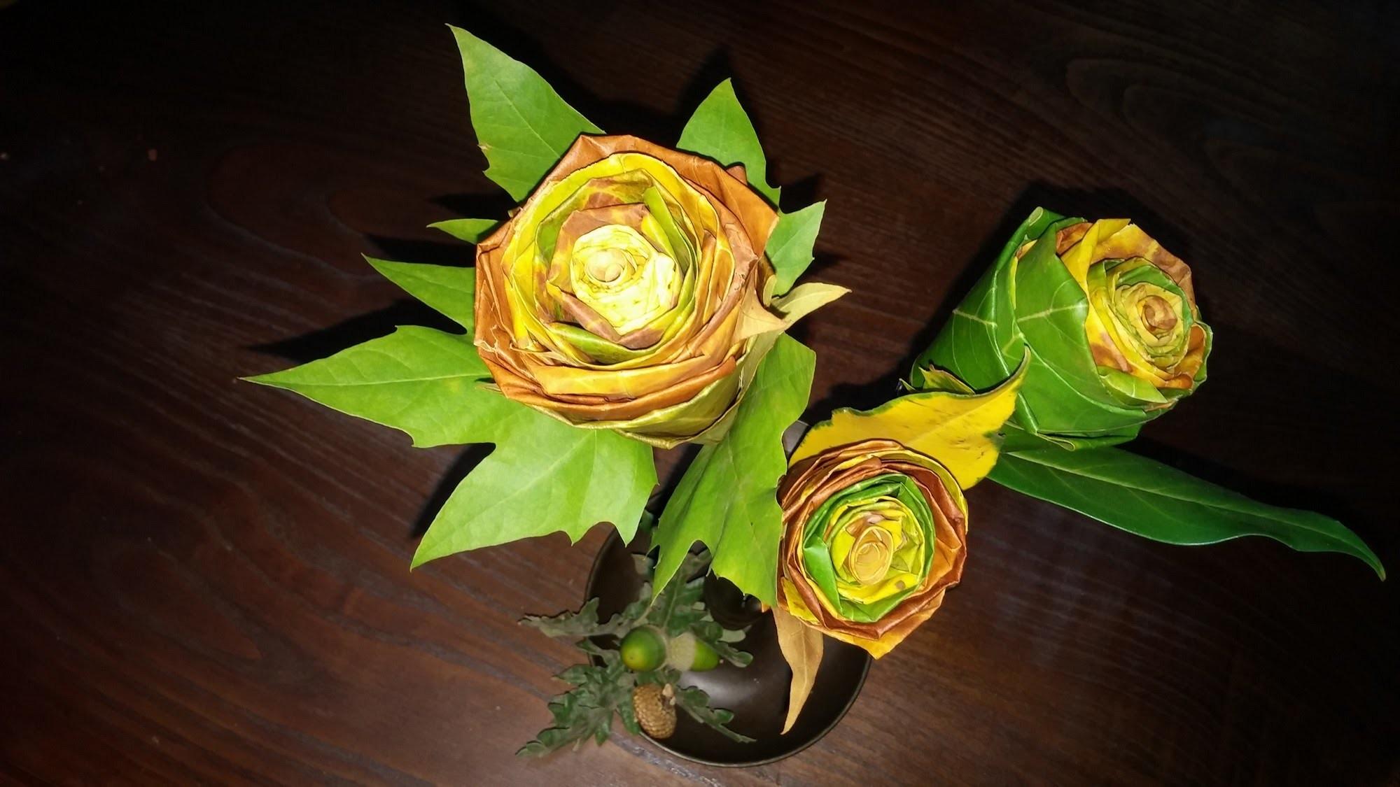 Flores de folhas secas - DIY - Flowers from dried leaves