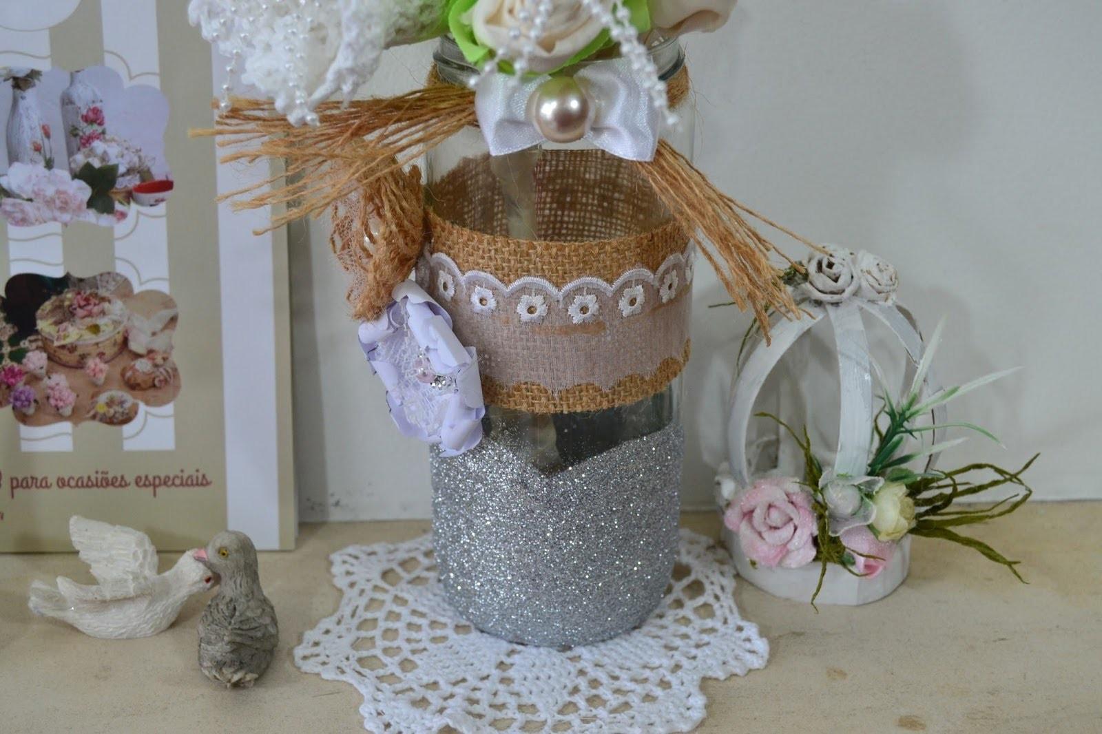 DIY como fazer centro de mesa para casamento  com frasco reciclado ♥