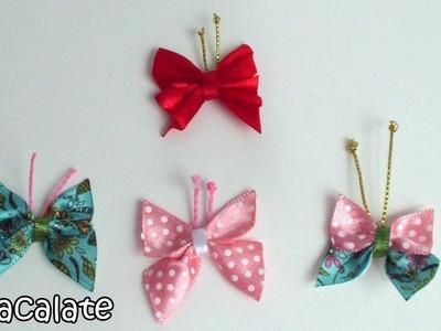 Vapt-Vupt: Borboleta Simples de Fita de Cetim - DIY Mariposa butterfly ribbon
